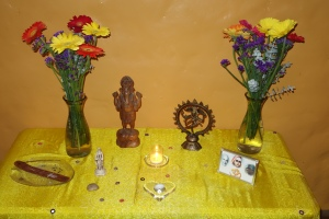 Altar with gerbera flowers.