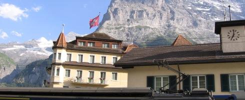 Grindelwald train station, swiss flag.