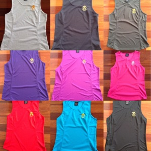 Nine different colours to choose from for the yoga shirt.
